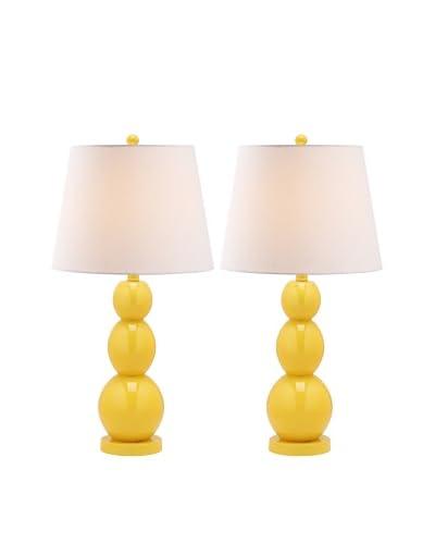 Safavieh Jayne Set of 2 Three Sphere 1-Light Glass Lamps, Yellow