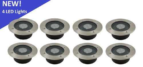 (8 Pack) Solar 4 White Led Round Recessed Deck Dock Patio Light