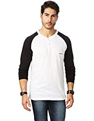 RODID Smart And Tredy Solid Men's Henley T-Shirt Maroon & Navy Blue_M