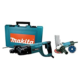 Makita HR2455X2 1-Inch D-Handle SDS Rotary Hammer with 4-1/2-Inch Angle Grinder Combo Kit