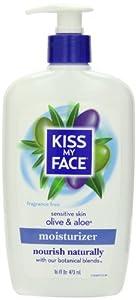 Kiss My Face Sensitive Skin Moisturizer Olive and Aloe, Fragrance Free, 16 Fluid Ounce