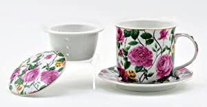 Rambling Rose Chintz Teacup with Infuser, Lid & Saucer from THT Designs