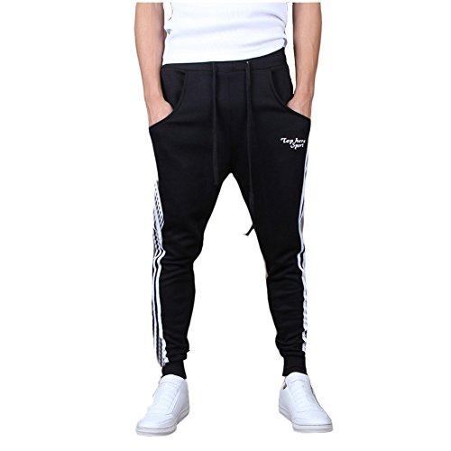 Minetom Pantaloni da Jogging da Uomo sportivi Casual Sarouel danza Pantaloni in esecuzione ( Nero EU S )