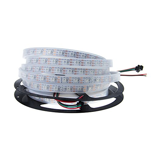 ALITOVE 16.4ft WS2812B Individually Addressable RGB LED Flexible Strip Light 5m 300 Pixels 5050 SMD with embedded IC DC5V White PCB Waterproof IP67
