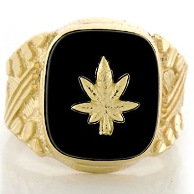 9ct Solid Gold Nugget Onyx Mens Ring W/ Marijuana