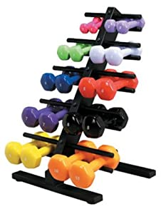 Vinyl Coated Dumbbell 20 Piece Set with Rack - 2 Ea. 1, 2, 3, 4, 5, 6, 7, 8, 9, 10,... by Cando