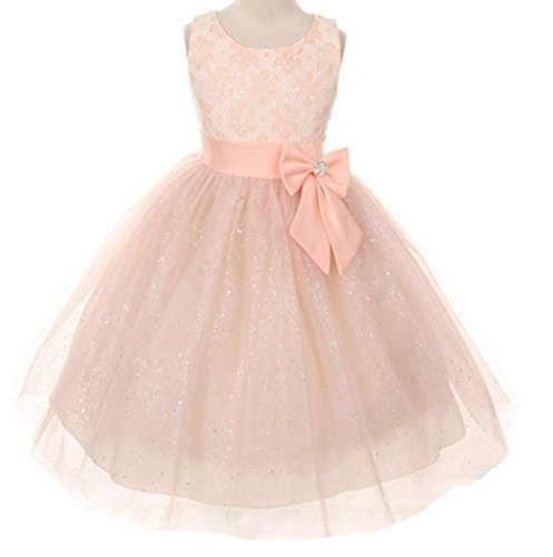 Lace Bow Sash Sparkly Sequin Tulle Flower Girls Dresses Wedding Jr. Bridesmaid Peach 2-14 front-628265