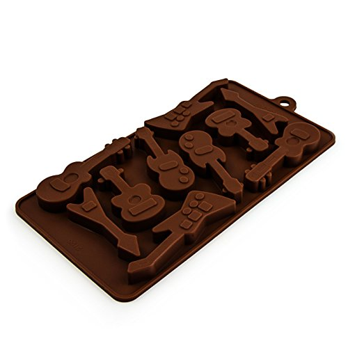 Stampo in silicone a forma di chitarre, per cioccolatini, cubetti di ghiaccio, mini focaccine, per feste di compleanno e feste a tema rock 'n' roll, colore: marrone
