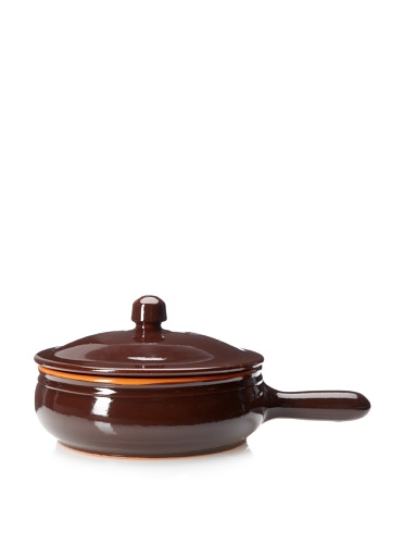 Coli Bakeware Cl12Br--C35 Italian Ceramic 1.25-Quart Fry Pan With Lid, 7.5-Inch, Brown