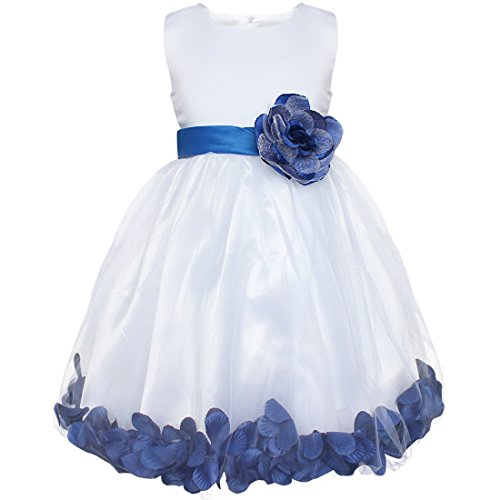 iEFiEL Girls Flower Petals Dress Kids Sleeveless Wedding Party Pageant Sundress Dark Blue 2 Years