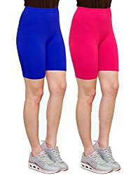 Goodtry Women's Cycling Shorts Pack of 2 Pink-Royal Blue