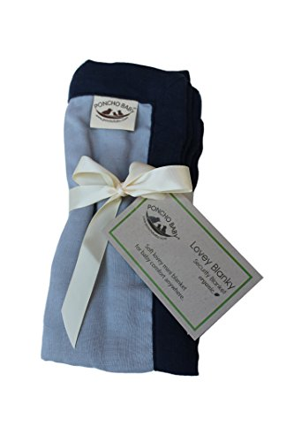 Poncho Baby Organic Security Blanket, Lovey Blanky, Gray/Navy Blue