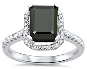 2.10ct Emerald Cut Black Diamond Halo Engagement Ring 18k White Gold