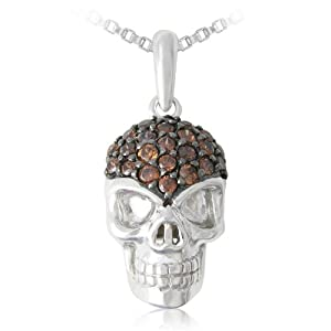 """Sterling Silver Round Shaped Brown Cubic Zirconia Skull Pendant Necklace, 18"""""""