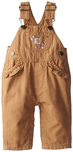 Carhartt Baby-Girls Infant Washed Microsanded Canvas Bib Overall, Honey Ginger, 3 Months front-843888