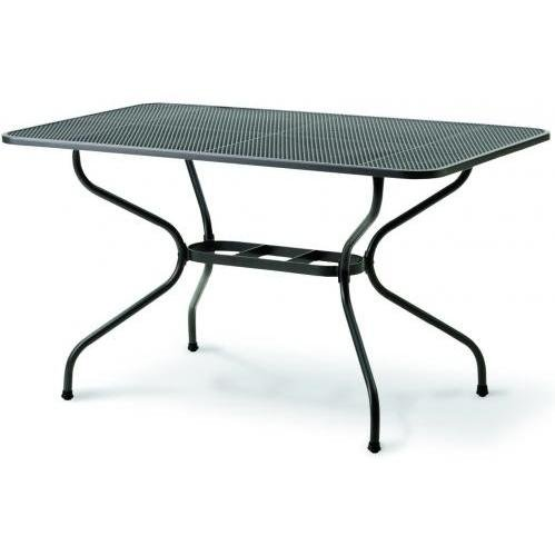 kettler wrought iron mesh top table 57 x 35 inch wrought iron patio furniture