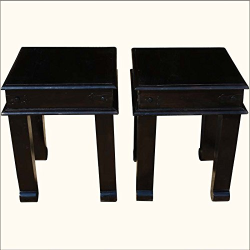 2 Square Mission Espresso Solid Indian Rosewood End Tables front-13358