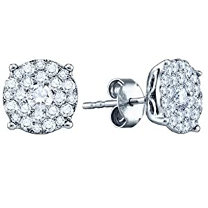0.50 Carat (ctw) 14K White Gold Brilliant Round Cut Diamond Round Shape Cluster Earrings Look of 1 CT each