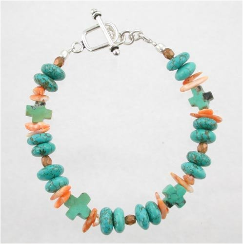 Southwestern Style Turquoise and Orange Spiny Oyster Beaded Bracelet with Turquoise Crosses and Sterling Silver Toggle, 8