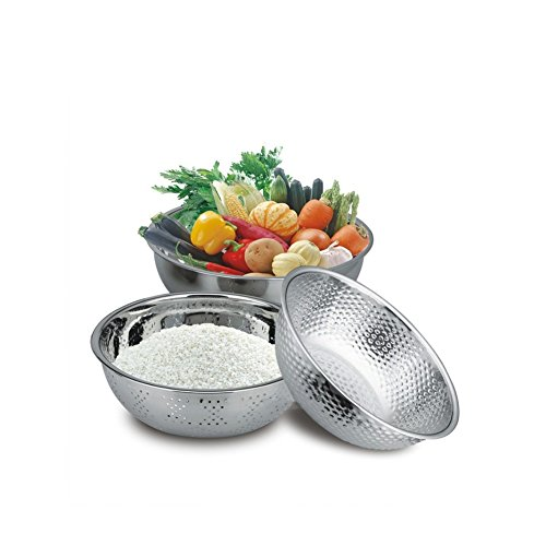 (Big Sales) TOPOKO Colander Stainless Steel Metal Round Strainer Kitchen Food Preparation Cooking Setting High Quality Mixing and Storage Bowl Pasta Rice Set (Smothered Chicken Rice compare prices)