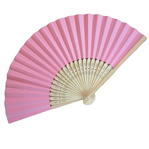 Topshop® Ladies Bamboo & Paper Fan Hollow Out Hand Folding Fans Outdoor Wedding Party Favor (1, Pink)
