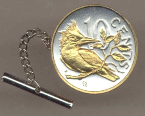 Gorgeous 2-Toned Gold on Silver World Coin Tie-Tack-145TT