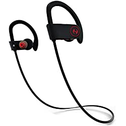 Hussar Sweatproof Noise Cancelling Magicbuds Wireless Bluetooth V4.1 Headphones with Zippered Case