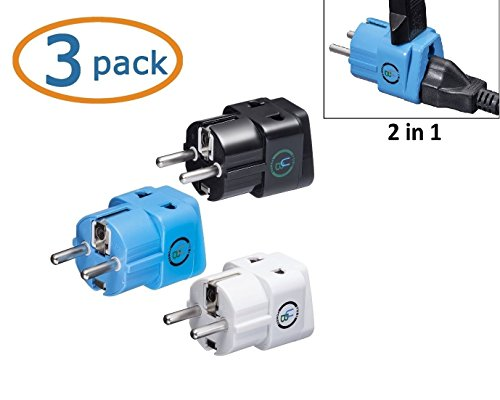 Yubi Power Grounded 2 In 1 Schuko Plug Adapter Type E/F For France, Germany, Europe, Spain, Turkey, Portugal, Poland, Austria, Belgium, The Netherlands, Sweden, Norway And South Korea / With Two Universal Plug In Ports /Grounded - Ce Certified - Rohs Comp