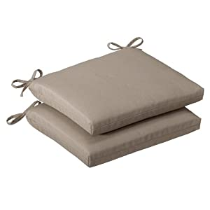Pillow Perfect Outdoor Brown Solid Seat Cushion Squared 2-pack by Pillow Perfect