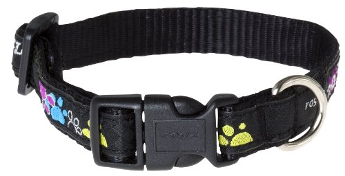 Rogz Fancy Dress Medium 5/8-Inch Scooter Dog Collars, Paint Paw Design