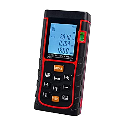 ieGeek Handheld Laser Distance Range Finder, Tape Measure Meter and Automatic Calculation Device,Self Calibration Rangefinder with Switchable Large LCD Backlight Tester