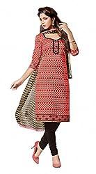Khushali Presents Chanderi Dress Material (Peach,Black)