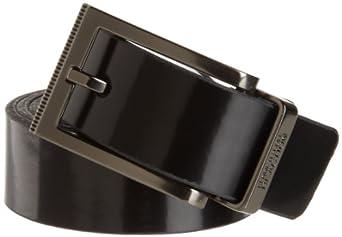 Kenneth Cole Reaction Men's Cut Round Edge Reversible Belt, Black/White, 40