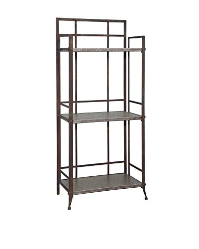 Powell Industrial Foundry Tall 3-Shelf Bookcase, Pewter