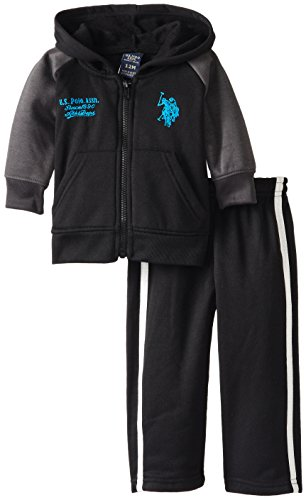 U.S. Polo Assn. Baby-Boys Infant Fleece Hoodie And Pant Set, Teal Blue, 24