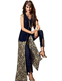 Aryan Fashion Designer Blue Embroidered Georgette Straight Suit For Women & Girls Party Wear For Girls For Specail...
