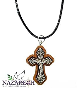silver plated catholic crucifix cross pendant