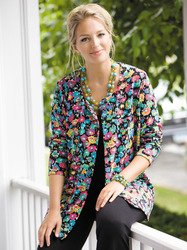Ulla Popken Plus Size Flower Cardigan Sweater - Multi, 28/30