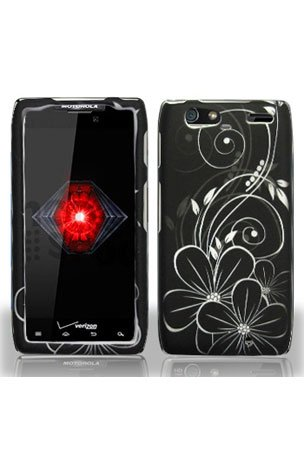 Motorola Droid RAZR MAXX Graphic Case - Black/White Flower (Package include a HandHelditems Sketch Stylus Pen)