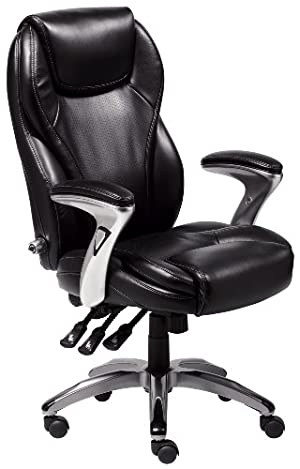 Serta 43676 Bonded Leather Executive Chair, Multi-Paddle, Black
