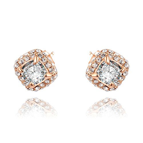 Duo La Elegant 18K Rose Gold Plated Cubic Zirconia Asscher-Cut Halo Luxury Stud Earrings (Brothers Allergy Dog Food compare prices)
