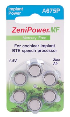 ZeniPower Cochlear Implant Batteries Size A675P Zero Mercury (60 Batteries) (Implant Batteries compare prices)
