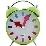 Quartz Twin Bell Alarm Clock With Light (1h68) - Green - Analog Room Decor (Size 11x5.5x15.5 Cm)