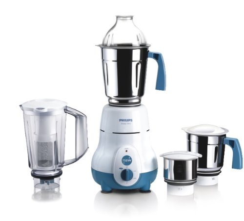 Philips HL1645 750-Watt 3 Jar Super Silent Vertical Mixer Grinder+Blender jar with Fruit Filter Blue