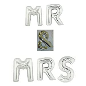 40quot silver mr mrs large foil letter balloons wedding for Foil letter balloons amazon