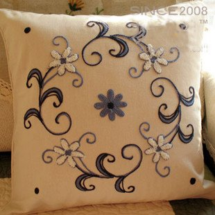 Woollen Embroided blue Vine Cushion Cover/Pillow