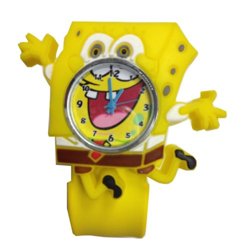 New! Cute 3D Cartoon Watch Kids Boy Girl Children'S Rubber Snap-On Slap Cuff Watch Gifts Idea (Yellow, Spongebob Squarepants)