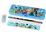 ワンピース ONEPIECE 筆箱ペンケース 鉛筆 定規 消しゴム 文房具セット (ブルー)