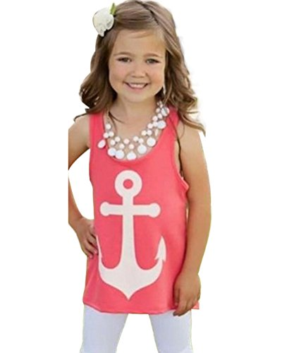 Imvation Women Girls Sleeveless Halter Backless Low O-Neck Anchor Print T-Shirt Vest (6T, Red 2)
