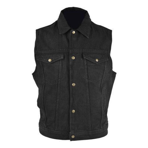 Jafrum Motorcycle Vests - Men's Black Denim Jean Vest MV107 Black 4XL